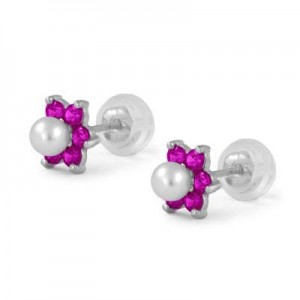 14K White Gold July Birthstone And Pearl Children Flower Studs