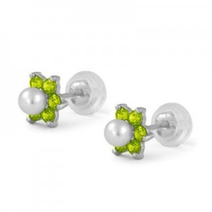 14K White Gold August Birthstone And Pearl Children Flower Studs