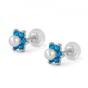 14K White Gold December Birthstone And Pearl Children Flower Studs