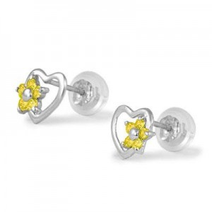 14K White Gold Heart November Birthstone Flower Girls Stud Earrings
