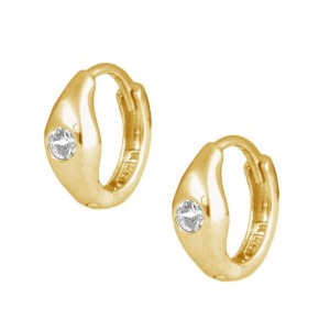 Children's Jewelry - 14K Yellow Gold White C.Z. Huggie Hoop Earrings