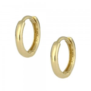 14K Yellow Gold Plain Huggie Hoop Earrings For Children
