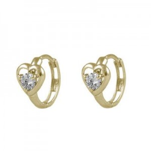 Baby And Toddler 14K Yellow Gold Heart April Birthstone Hoop Earrings