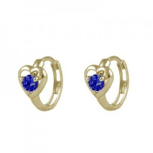 Baby And Toddler 14K Yellow Gold Heart September Birthstone Hoop Earrings