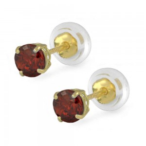14K Yellow Gold 4mm January Birthstone Silicone Back Girls Earrings