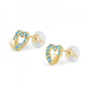 14K Yellow Gold December Birthstone Double Hearts Girls Stud Earrings