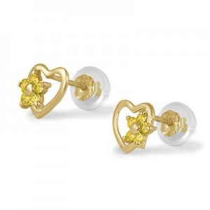 14K Yellow Gold Heart November Birthstone Flower Girls Stud Earrings