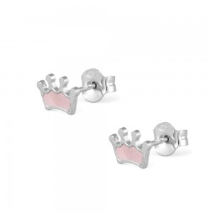 Sterling Silver Pink Mother of Pearl Crown Earrings For Girls