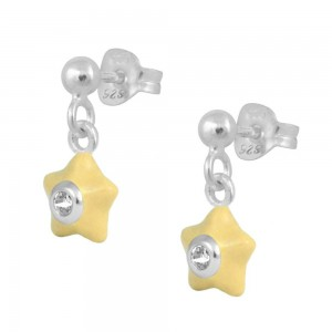 Sterling Silver Girl's April Birthstone Enamel Dangling Star Earrings