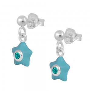 Sterling Silver Girl's May Birthstone Enamel Dangling Star Earrings