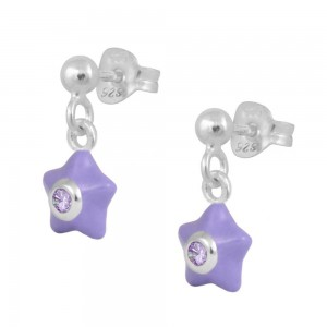 Sterling Silver Girl's June Birthstone Enamel Dangling Star Earrings
