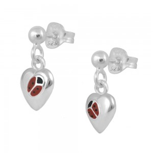 Sterling Silver Red Enamel Ladybug Heart Dangling Earrings For Girls