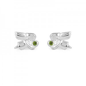 Child Jewelry - Girls Silver August Birthstone Angel Stud Earrings