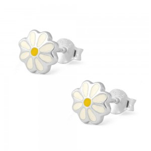 Girl's Sterling Silver White And Yellow Enameled Daisy Stud Earrings