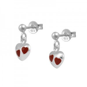 Girl's Jewelry - Sterling Silver Red Enamel Dangling Heart Earrings