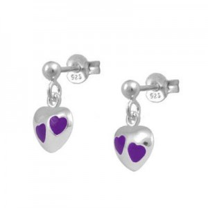 Girl's Jewelry - Sterling Silver Purple Enamel Dangling Heart Earrings