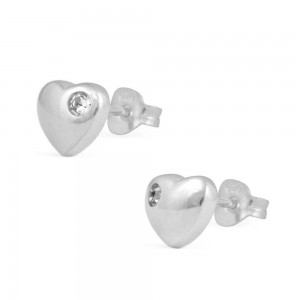 Girl's Jewelry - Sterling Silver April Birthstone Heart Stud Earrings