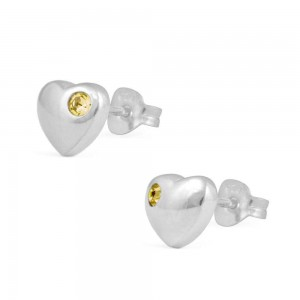 Girl's Jewelry - Sterling Silver November Birthstone Heart Stud Earrings