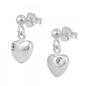 Girl's Jewelry - Silver April Birthstone Heart Dangling Earrings