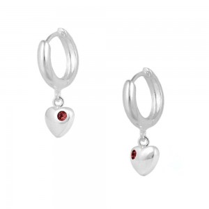 Girls Jewelry - Silver January Birthstone Heart Huggie Hoop Earrings