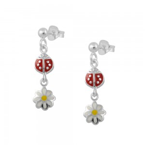Sterling Silver Ladybug And Daisy Flower Dangling Earrings For Girls