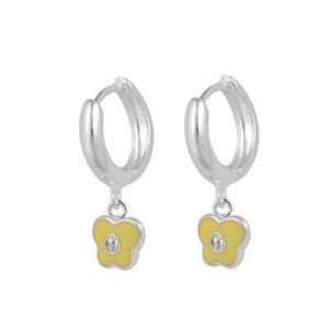 Girls Sterling Silver April Birthstone Butterfly Huggie Hoop Earrings