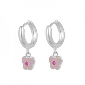 Girls Sterling Silver October Birthstone Butterfly Huggie Hoop Earrings