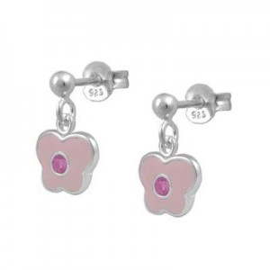 Girls Sterling Silver October Birthstone Butterfly Dangling Earrings