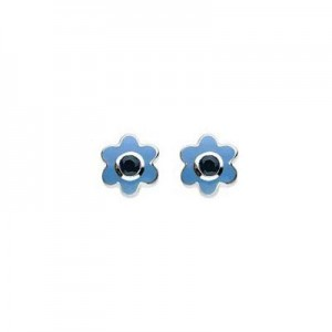 Kids Silver Flower September Birthstone Sapphire Children's Earrings For Girls
