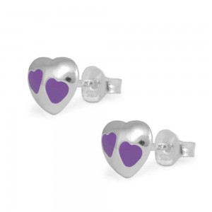 Child & Teen Girl Sterling Silver Purple Enameled Heart Stud Earrings