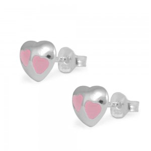 Child & Teen Girl Sterling Silver Pink Enameled Heart Stud Earrings