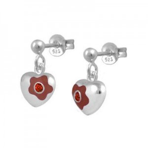 Silver January Birthstone Flower Heart Dangling Girls Earrings