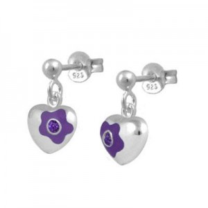 Silver February Birthstone Flower Heart Dangling Girls Earrings