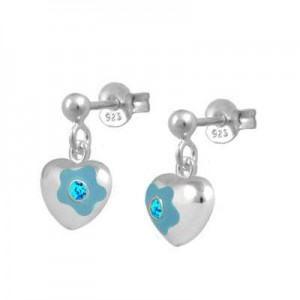 Silver March Birthstone Flower Heart Dangling Girls Earrings