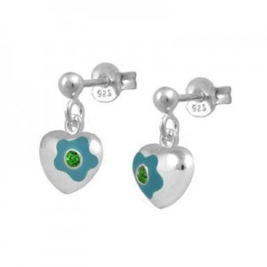 Silver May Birthstone Flower Heart Dangling Girls Earrings