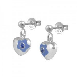 Silver September Birthstone Flower Heart Dangling Girls Earrings