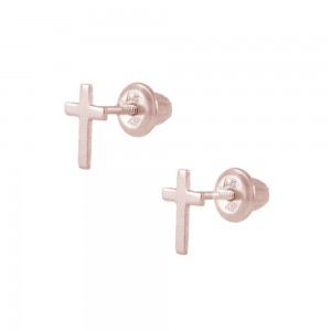 Kids Jewelry - 14K Rose Gold Cross Screw Back Stud Earrings for Girls