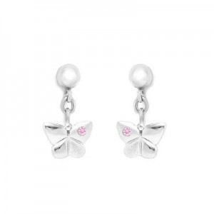 Sterling Silver Pink Sapphire Accent Dangling Butterfly Earrings For Girls