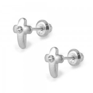 Children Jewelry - Silver Diamond Cross Girls Screw Back Earrings