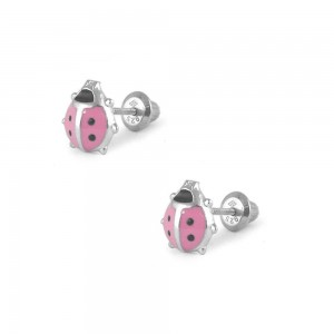 Girl Jewelry - Sterling Silver Pink Enamel Ladybug Screw Back Earring Studs