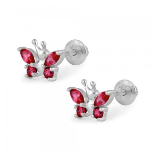 Girls Sterling Silver January Birthstone Butterfly Screw Back Earrings