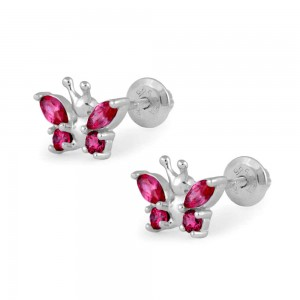 Girls Sterling Silver July Birthstone Butterfly Screw Back Earrings