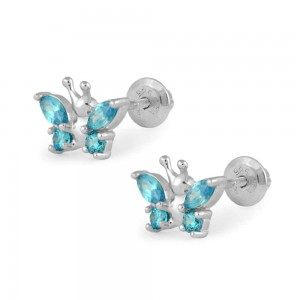 Girls Sterling Silver December Birthstone Butterfly Screw Back Earrings