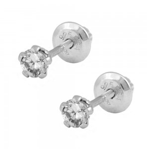 Children Silver April Birthstone White Topaz Screw Back Earrings For Girls
