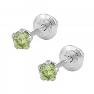 Children Silver August Birthstone Peridot Screw Back Earrings For Girls