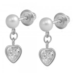 Silver White Cultured Pearl Dangling Heart C.Z. Screw Back Earrings For Girls