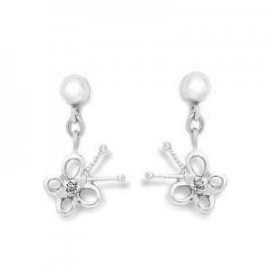 Sterling Silver Young Girl's Diamond Dangling Butterfly Earrings