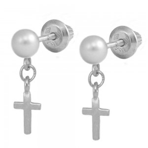 Girl's Silver White Cultured Pearl Dangling Cross Screw Back Earrings