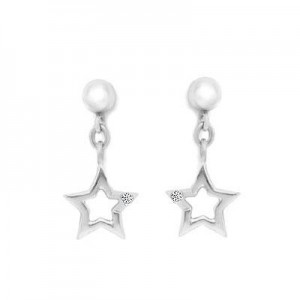 Sterling Silver With Diamond Accent Dangling Star Earrings For Girls