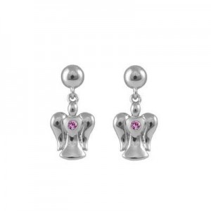 Sterling Silver Dangling Pink Sapphire Angel Push On Earrings For Girls